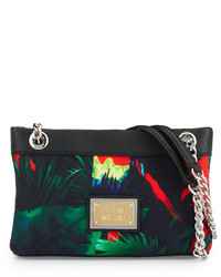 Love Moschino Jungle Print Canvas Shoulder Bag Black
