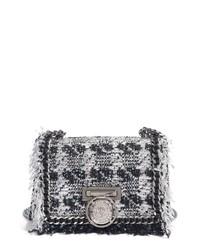 Balmain Metallic Tweed Leather Box Shoulder Bag