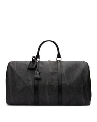 Etro Black Paisley Travel Duffle Bag