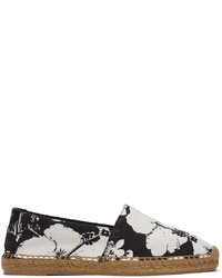 Saint Laurent White Black Hibiscus Print Espadrilles