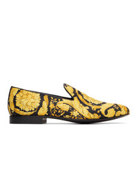 Versace Black And Yellow Silk Barocco Loafers