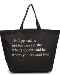 Ann Demeulemeester Text Print Tote Bag