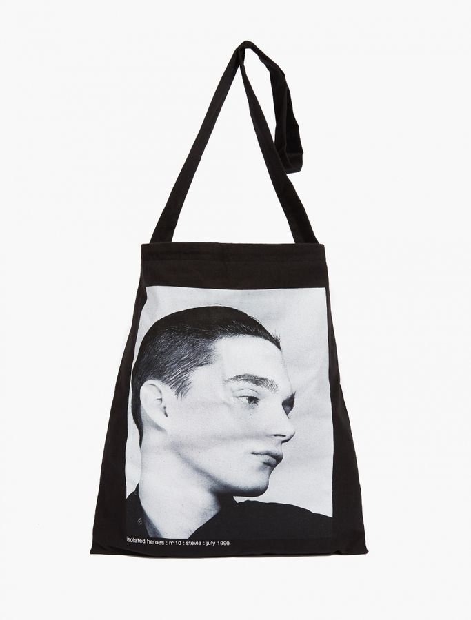 raf simons black printed tote bag where to buy how to wear