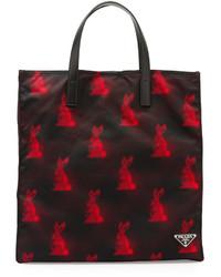 Prada Digital Bunny Print Nylon Tote Bag Blackred