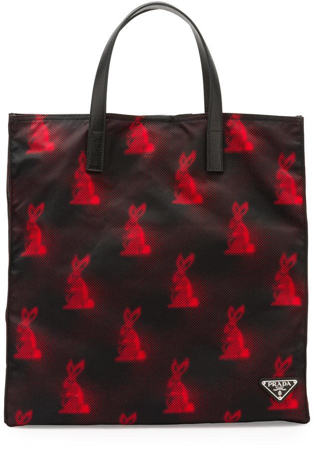 06da22ca4c $820, Prada Digital Bunny Print Nylon Tote Bag Blackred