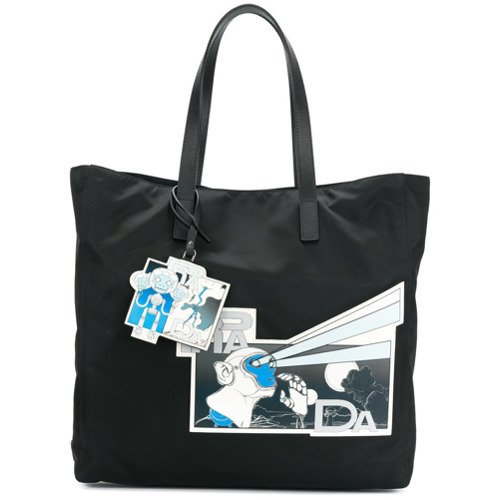 f7f0b9e77ff229 Prada Print Shopper Tote, $1,023 | farfetch.com | Lookastic.com