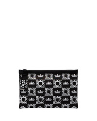 Dolce & Gabbana Black Crown Print Canvas Pouch Bag