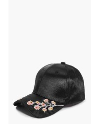 Boohoo Evelyn Embroidered Satin Baseball Cap
