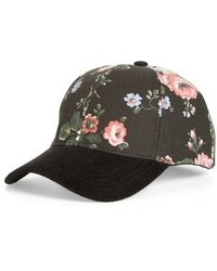 Flower print adjustable baseball cap blue medium 3992455
