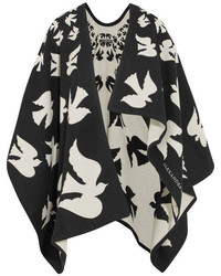 Alexander McQueen Reversible Intarsia Wool And Cashmere Blend Cape Black