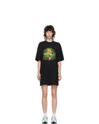 MSGM Black Graphic T Shirt Dress