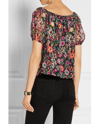 ... RED Valentino Redvalentino Off The Shoulder Printed Crinkled Silk  Chiffon Top Black