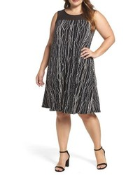 Vince Camuto Plus Size Electric Lines Sheer Yoke Shift Dress