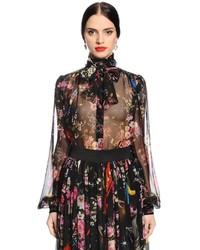 Dolce & Gabbana Flowers Space Printed Chiffon Shirt