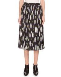 Kenzo Pompom Print Crinkled Chiffon Midi Skirt Black