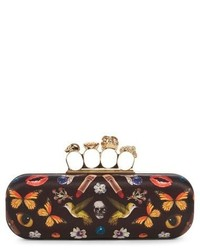 Alexander McQueen Obsession Print Knuckle Box Clutch Black