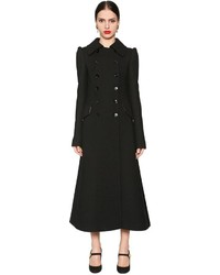 Dolce & Gabbana Double Breasted Wool Crepe A Line Coat