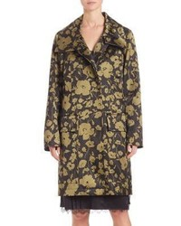 Michael Kors Michl Kors Collection Floral Print Angora Blend Coat