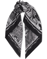 Printed cotton voile scarf black medium 964638