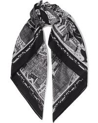 Alexander McQueen Printed Cotton Voile Scarf Black