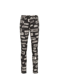 Moschino High Waisted Printed Cotton Blend Skinny Jeans