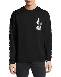 McQ Alexander Ueen Bunny Skulls Long Sleeve Cotton T Shirt Black