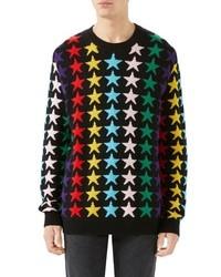 Gucci Allover Jacquard Stars Wool Sweater