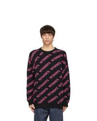 Vetements Black All Over Logo Sweater