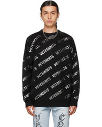 Vetements Black Glitter Monogram Sweater