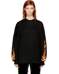 Palm Angels Black Palms Flames Sweater