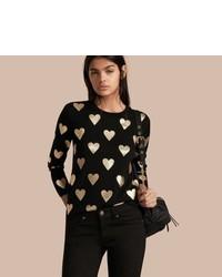 Burberry Crew Neck Heart Print Merino Wool Sweater