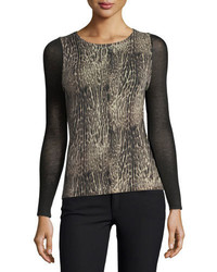 Cashmere collection sheer sleeve ocelot print cashmere crewneck medium 4156513