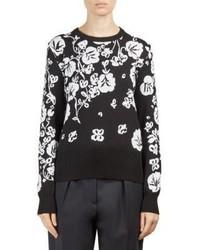 Floral intarsia crewneck sweater medium 4397855