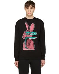 McQ by Alexander McQueen Mcq Alexander Mcqueen Black Glitch Bunny Clean Pullover