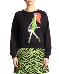 b7a761e1f Women s Black Print Crew-neck Sweaters by Moschino Cheap   Chic ...