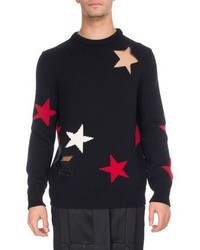Givenchy Star Cutout Intarsia Wool Crewneck Sweater
