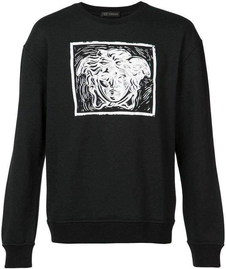Versace Versace contrast Medusa print sweatshirt   Where to buy ... 9db045fcaaf
