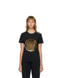 Balmain Black 3 Button Coin T Shirt