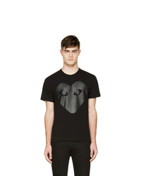 Comme Des Garcons Play Black And Carbon Glossy Heart Logo T Shirt