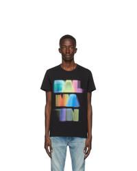 Balmain Black And Multicolor Logo T Shirt