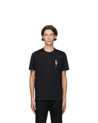 Neil Barrett Black And Silver Crystal Bolt T Shirt