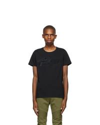 Balmain Black Bi Color Flocked Logo T Shirt