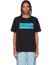 VERSACE JEANS COUTURE Black Blue Logo T Shirt