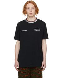 Marcelo Burlon County of Milan Black Embroidered County Folk T Shirt