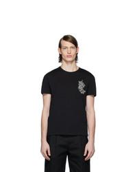 Alexander McQueen Black Embroidered Floral Logo T Shirt
