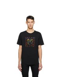 Saint Laurent Black Jacquard Broken Heart T Shirt
