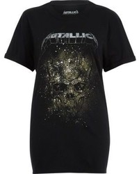 River Island Black Metallica Print Band T Shirt
