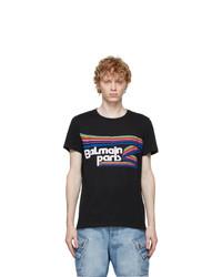 Balmain Black Mulitcolor Logo T Shirt