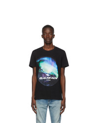Balmain Black Northern Lights Logo T Shirt