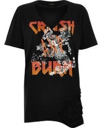 River Island Black Print Slashed Band T Shirt